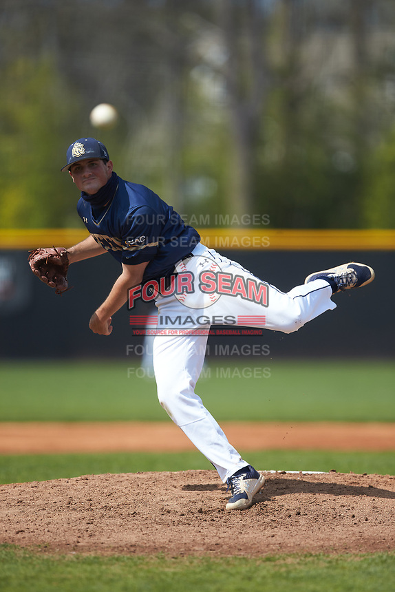 Queens Royals starting pitcher Caleb Staley (18) in action against the Catawba Indians during game two of a double-header at Tuckaseegee Dream Fields on March 26, 2021 in Kannapolis, North Carolina. (Brian Westerholt/Four Seam Images)