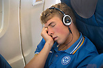 St Johnstone v FC Minsk...31.07.13<br /> David Wotherspoon pictured getting some sleep on the flight to Grodno in Belarus.<br /> Picture by Graeme Hart.<br /> Copyright Perthshire Picture Agency<br /> Tel: 01738 623350  Mobile: 07990 594431