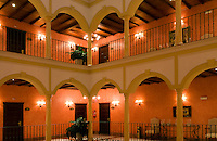 Beautiful arches and lights of expensive Hotel Vincci La Rabida, Seville, Spain, Sevilla