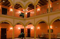 Beautiful arches and lights of expensive Hotel Vincci La Rabida, Seville, Spain, Sevilla