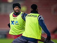 29th December 2020; Bet365 Stadium, Stoke, Staffordshire, England; English Football League Championship Football, Stoke City versus Nottingham Forest; Samba Sow of Nottingham Forest during the warm up
