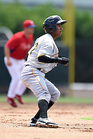 GCL Pirates third baseman Edgardo Munoz (57) leads off second during a game against the GCL Phillies on June 26, 2014 at the Carpenter Complex in Clearwater, Florida.  GCL Phillies defeated the GCL Pirates 6-2.  (Mike Janes/Four Seam Images)