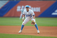 North Carolina Tar Heels first baseman Michael Busch (15) on defense against the Miami Hurricanes in the second semifinal of the 2017 ACC Baseball Championship at Louisville Slugger Field on May 27, 2017 in Louisville, Kentucky. The Tar Heels defeated the Hurricanes 12-4. (Brian Westerholt/Four Seam Images)