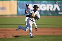 Charleston RiverDogs third baseman Abiezel Ramirez (2) on defense against the Augusta GreenJackets at Joseph P. Riley, Jr. Park on June 27, 2021 in Charleston, South Carolina. (Brian Westerholt/Four Seam Images)