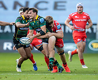 29th September 2020; Franklin Gardens, Northampton, East Midlands, England; Premiership Rugby Union, Northampton Saints versus Sale Sharks; George Furbank of Northampton Saints is tackled by Dan du Preez of Sale Sharks