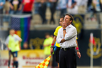 Philadelphia Union interim manager John Hackworth during the second half against the New York Red Bulls. The New York Red Bulls defeated the Philadelphia Union 3-0 during a Major League Soccer (MLS) match at PPL Park in Chester, PA, on October 27, 2012.