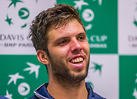 The Hague, The Netherlands, September 12, 2017,  Sportcampus , Davis Cup Netherlands - Chech Republic, Pre Draw press conference, Chech  team, Jiri Vesely (CZE)<br /> Photo: Tennisimages/Henk Koster