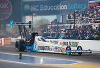 Oct 12, 2019; Concord, NC, USA; NHRA top fuel driver Justin Ashley during qualifying for the Carolina Nationals at zMax Dragway. Mandatory Credit: Mark J. Rebilas-USA TODAY Sports