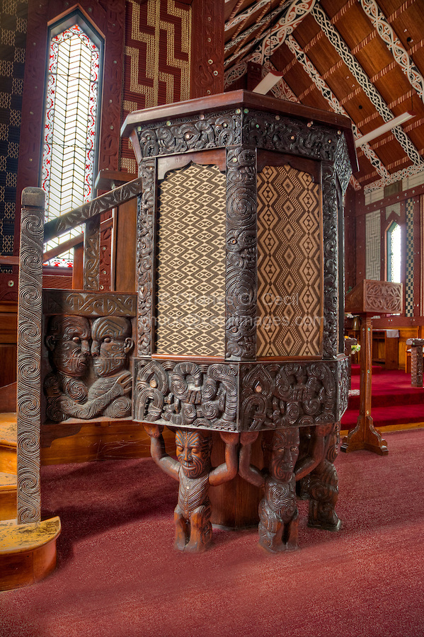 Cultural Syncretism.  St. Mary's Anglican Church, Tikitiki, north island, New Zealand, built 1924-26 as a memorial to Maori soldiers who fought and died in World War I.   Pulpit supported by Maori gods, a gift from the Te Arawa tribe.  Woven panels (tukutuku) on pulpit sides.  A member of the New Zealand Historic Places Trust.  Highway 35, Gisborne Region.