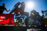 Oct 31, 2020; Las Vegas, Nevada, USA; NHRA top fuel driver Leah Pruett climbs into her dragster during qualifying for the NHRA Finals at The Strip at Las Vegas Motor Speedway. Mandatory Credit: Mark J. Rebilas-USA TODAY Sports