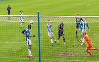 20th February 2021; The John Smiths Stadium, Huddersfield, Yorkshire, England; English Football League Championship Football, Huddersfield Town versus Swansea City; Sarr of Huddersfield heads off his own goal line