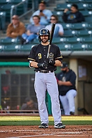 Anthony Bemboom (9) of the Salt Lake Bees at bat against the Tacoma Rainiers at Smith's Ballpark on May 13, 2021 in Salt Lake City, Utah. The Rainiers defeated the Bees 15-5. (Stephen Smith/Four Seam Images)