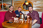 Cathal Travers, Niall O'Hare and Alex Smith enjoying Molly Js in Benners Hotel on Thursday.