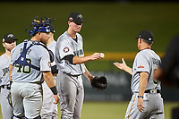 Peoria Javelinas starting pitcher Forrest Whitley (39), of the Houston Astros organization, is removed from the game by manager Dave Turgeon (9) during an Arizona Fall League game against the Mesa Solar Sox on September 21, 2019 at Sloan Park in Mesa, Arizona. Mesa defeated Peoria 4-1. (Zachary Lucy/Four Seam Images)