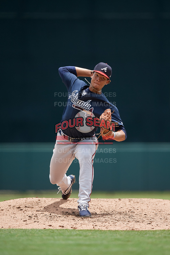 GCL Braves pitcher Walner Polanco (60) during a Gulf Coast League game against the GCL Orioles on August 5, 2019 at Ed Smith Stadium in Sarasota, Florida.  GCL Orioles defeated the GCL Braves 4-3 in the second game of a doubleheader.  (Mike Janes/Four Seam Images)