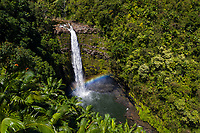 A rainbow bridges the base of 'Akaka Iki Falls, Big Island of Hawai'i.