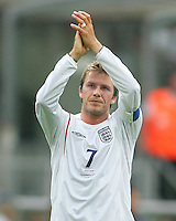David Beckham of England salutes the fans after the game. England defeated Trinidad & Tobago 2-0 in their FIFA World Cup group B match at Franken-Stadion, Nuremberg, Germany, June 15 2006.