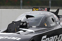 Feb 9, 2014; Pomona, CA, USA; Detailed view of the burst panel and broken windshield on the car of NHRA funny car driver Cruz Pedregon  after exploding an engine during the Winternationals at Auto Club Raceway at Pomona. Mandatory Credit: Mark J. Rebilas-