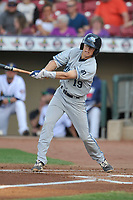 West Michigan Whitecaps shortstop Cole Peterson (19) swings at pitch against the Cedar Rapids Kernels at Veterans Memorial Stadium on May 5, 2018 in Cedar Rapids, Iowa.  (Dennis Hubbard/Four Seam Images)