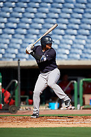 New York Yankees Nelson Gomez (50) at bat during a Florida Instructional League game against the Philadelphia Phillies on October 12, 2018 at Spectrum Field in Clearwater, Florida.  (Mike Janes/Four Seam Images)