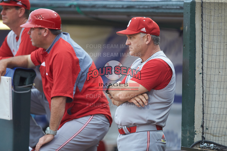 North Carolina State Wolfpack head coach Elliott Avent looks on from the dugout during the game against the North Carolina Tar Heels in Game Twelve of the 2017 ACC Baseball Championship at Louisville Slugger Field on May 26, 2017 in Louisville, Kentucky. The Tar Heels defeated the Wolfpack 12-4. (Brian Westerholt/Four Seam Images)