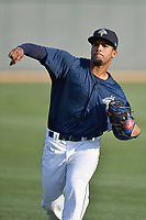 Pitcher Merandy Gonzalez (38) of the Columbia Fireflies warms up before a game against the Lexington Legends on Friday, April 21, 2017, at Spirit Communications Park in Columbia, South Carolina. Columbia won, 5-0 and Gonzalez (3-0) got the win.(Tom Priddy/Four Seam Images)