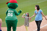 It was kids and moms run the bases after the Greenville Drive Mother's Day game on May 9, 2021. Drive mascot Reedy Rip'It greets the lkids and moms at home plate. (Tom Priddy/Four Seam Images)