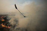 Members of the BRIF (reinforcement brigade wildfires) tries to extinguish flames at the site of a wildfire in Cualedro, near Ourense on August 30, 2015. A fire broke out on August 30, 2015 around noon in the Cualedro town in Galicia, northwest Spain, affecting at least 3,180 hectares of forest, as seven fires continued to burn in Spain, three in Galicia, one in Cantabria, one in Castile and Leon, one in Catalonia and Extremadura. © Pedro ARMESTRE