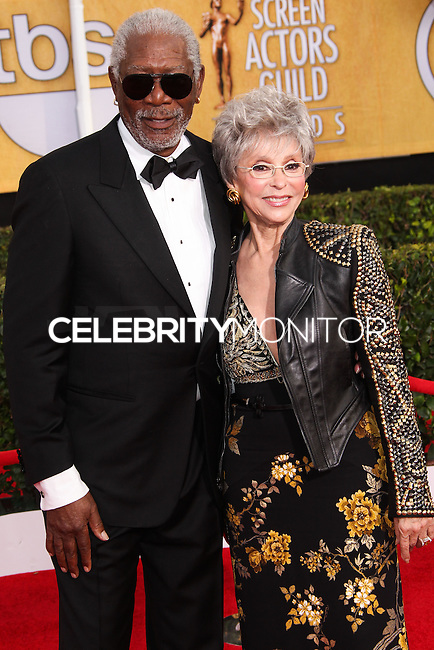 LOS ANGELES, CA - JANUARY 18: Morgan Freeman, Rita Moreno at the 20th Annual Screen Actors Guild Awards held at The Shrine Auditorium on January 18, 2014 in Los Angeles, California. (Photo by Xavier Collin/Celebrity Monitor)