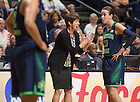 Apr. 8, 2014; Head coach Muffet McGraw has a word with guard Michaela Mabrey during the championship game against the Connecticut Huskies in the women's NCAA Final Four tournament at the Bridgestone Arena in Nashville, Tenn. Connecticut defeated Notre Dame 79 to 58. Photo by Barbara Johnston/University of Notre Dame
