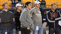 Evgeni Malkin (fourth from left) and other Pittsburgh Penguins watch warmups. The Pitt Panthers defeated the USF Bulls 44-17 on September 29, 2011 at Heinz Field in Pittsburgh Pennsylvania.