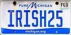 "April 8, 2021; Michigan license plate, ""IRISH25"" (Photo by Matt Cashore/University of Notre Dame)"