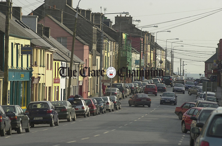 A view of the main street, Miltown Malbay. Photograph by John Kelly.