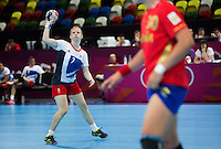 25 JUL 2012 - LONDON, GBR - Lynn McCafferty (GBR) of Great Britain passes during the women's London 2012 Olympic Games warm up handball match against Spain in The Copper Box in the Olympic Park, in Stratford, London, Great Britain .(PHOTO (C) 2012 NIGEL FARROW)