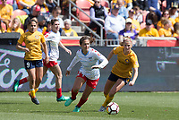 Sandy, UT - Saturday April 14, 2018: Danielle Colaprico, Becky Sauerbrunn during a regular season National Women's Soccer League (NWSL) match between the Utah Royals FC and the Chicago Red Stars at Rio Tinto Stadium.