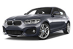 Stock pictures of low aggressive front three quarter view of a 2015 BMW 1 Series M Sport 5 Door Hatchback Low Aggressive