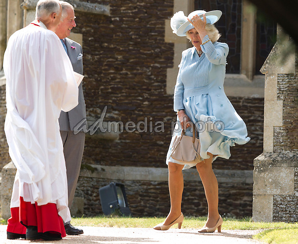 05 July 2015 - King's Lynn, United Kingdom - Prince Charles and Camilla Duchess of Cornwall. The Christening of Princess Charlotte of Cambridge at the Church of St Mary Magdalene on the Sandringham Estate. Photo Credit: Alpha Press/AdMedia