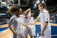 NORFOLK, VA--Erica Payne fires up fellow Freshman Bonnie Samuelson before play against Hampton University at the Ted Constant Convocation Center at Old Dominion University in Norfolk, VA in the first round of the 2012 NCAA Championships. The Cardinal advanced with a 73-51 win to play West Virginia on Monday, March 19.
