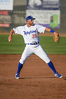 Matt Beaty (35) of the Ogden Raptors on defense against the Idaho Falls Chukars in Pioneer League action at Lindquist Field on June 23, 2015 in Ogden, Utah. Idaho Falls beat the Raptors 9-6.(Stephen Smith/Four Seam Images)