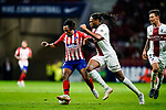 Gelson Martins of Atletico de Madrid (R) in action against Ruben Semedo of SD Huesca (L) during the La Liga  2018-19 match between Atletico de Madrid and SD Huesca at Wanda Metropolitano Stadium on September 25 2018 in Madrid, Spain. Photo by Diego Souto / Power Sport Images