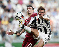 Calcio, Serie A: Torino, Allianz Stadium, 19 agosto 2017. <br /> tJuventus' Claudio Marchisio (r) in action with Cagliari's Fabio Pisacane (l) during the Italian Serie A football match between Juventus and Cagliari at Torino's Allianz Stadium, August 19, 2017.<br /> UPDATE IMAGES PRESS/Isabella Bonotto