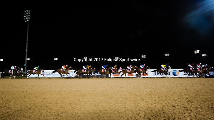 DUBAI, UNITED ARAB EMIRATES - MARCH 25: The field passes the finish line for the first time with Arrogate #9 ridden by Mike Smith (pink hat) in last place, and eventually wins the Dubai World Cup at Meydan Racecourse during Dubai World Cup Day on March 25, 2017 in Dubai, United Arab Emirates. (Photo by Douglas DeFelice/Eclipse Sportswire/Getty Images)