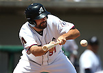 Reno Aces' Josh Collmenter bunts against the Iowa Cubs at Greater Nevada Field in Reno, Nev., on Tuesday, May 17, 2016. <br />Photo by Cathleen Allison