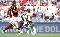 Calcio, Serie A: Roma vs Sassuolo. Roma, stadio Olimpico, 20 settembre 2015.<br /> Sassuolo's Matteo Politano, second from right, scores during the Italian Serie A football match between Roma and Sassuolo at Rome's Olympic stadium, 20 September 2015.<br /> UPDATE IMAGES PRESS/Isabella Bonotto