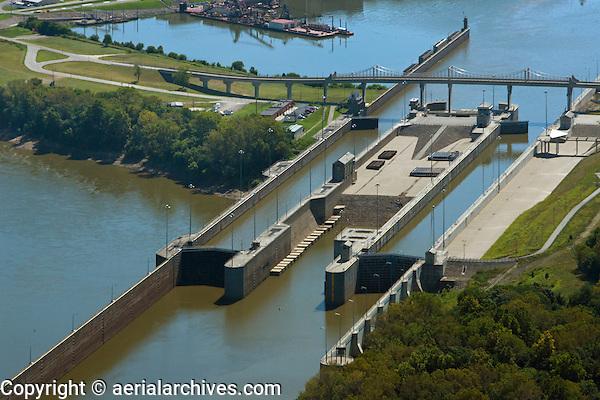 aerial photograph McAlpine Locks and Dam, Ohio River at Louisville, Kentucky