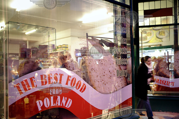 Buying food at a Polish supermarket in Hammersmith, London. There is a large Polish community living in West London.