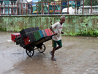 Pulling a load along the busy Yangon River Site, Yangon, Myanmar.