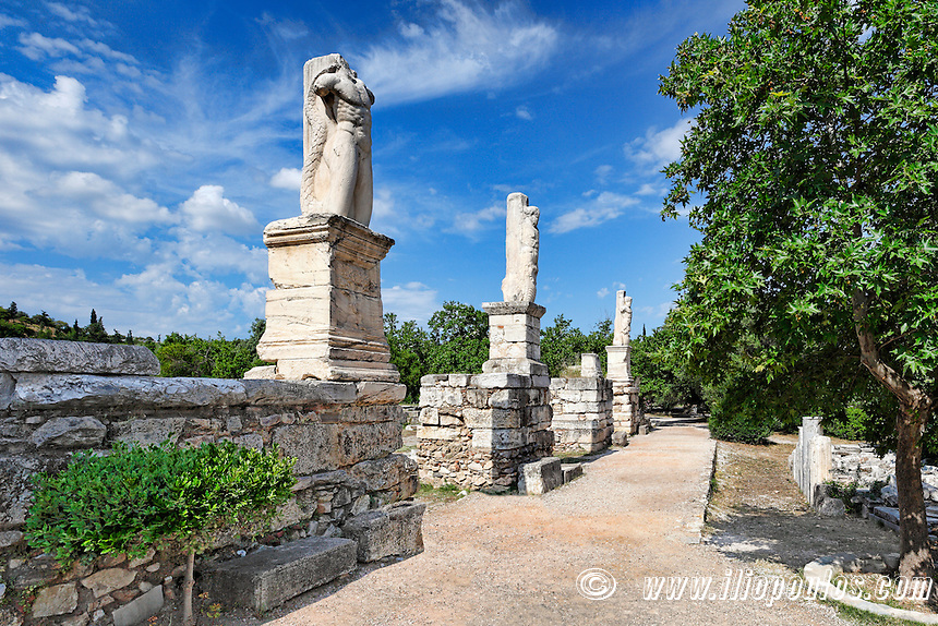 The Odeion of Agrippa and Gymnasium also known as Palace of the Giants (15 B.C.) in the Ancient Athenian Agora, Greece