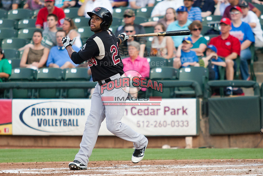 Sacramento River Cats outfielder Jermaine Mitchell #24 swings during the Pacific Coast League baseball game against the Round Rock Express on May 24, 2012 at the Dell Diamond in Round Rock, Texas. The Express defeated the River Cats 5-3. (Andrew Woolley/Four Seam Images).