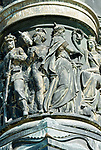 Deutschland, Freistaat Sachsen, Dresden: Relief am Reiterstandbild Koenig Johann Denkmal am Theaterplatz vor der Semperoper | Germany, the Free State of Saxony, Dresden: relief at equestrian sculpture King Johann monument at Theatre Square in front of Semper Opera House